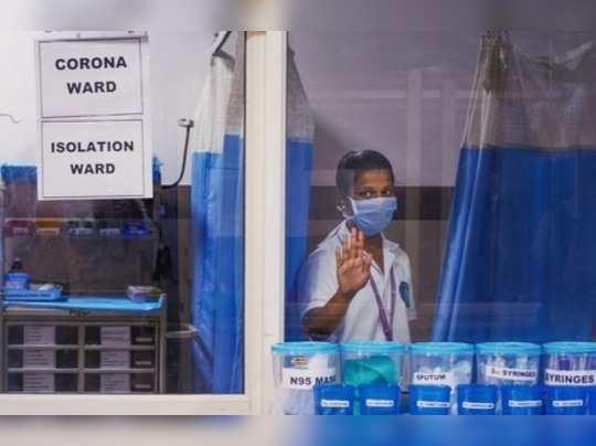 Vijayawada: A nurse is seen inside a Coronavirus ward at a government hospital i...