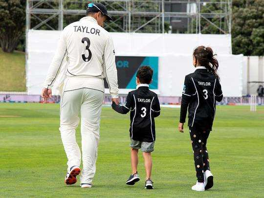 ross taylor celebrated his 100th test match at wellington with his children