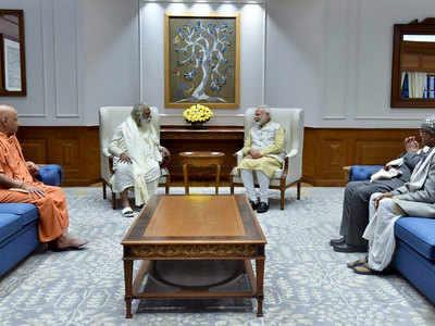 पीएम मोदी ने श्रीराम मंदिर तीर्थ क्षेत्र ट्रस्ट के सदस्यों से मुलाकात की।