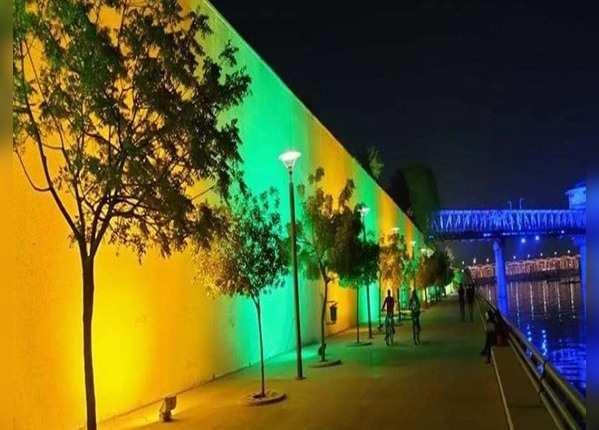 रंगीन रोशनी से सराबोर हुए पेड़ और दीवारें