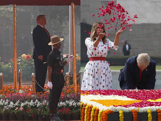 राष्ट्रपति भवन में ट्रंप का शाही स्वागत, महात्मा गांधी को दी श्रद्धांजलि, देखें तस्वीरें