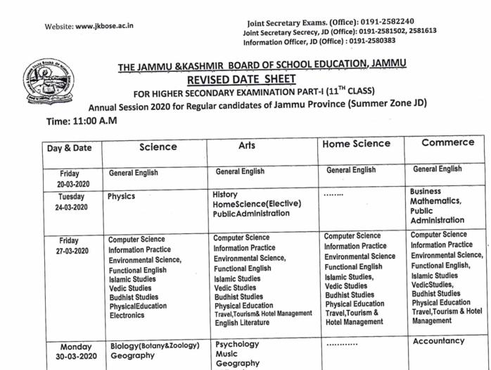 11 class date sheet 2020 jkbose