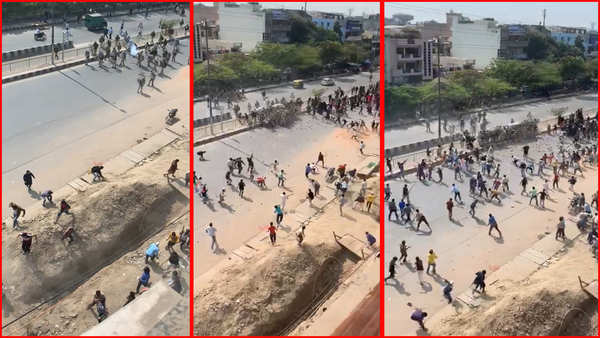 delhi riots video of day 2 violence shows mob attacking cops with sticks stones
