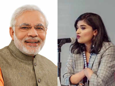 PM Modi and Malvika Iyer.