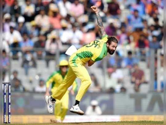 Mumbai: Australian bowler Kane Richardson bowls during the first one day interna...