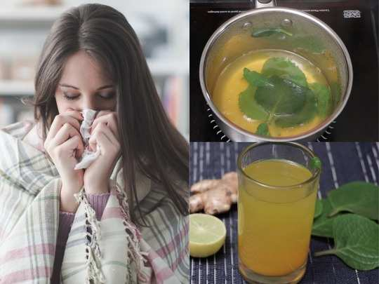 how to make kadha with ajwain leaves and turmeric for cold cough flu