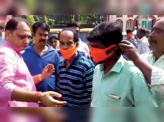 BJP distributing safron mask to prevent coronavirus