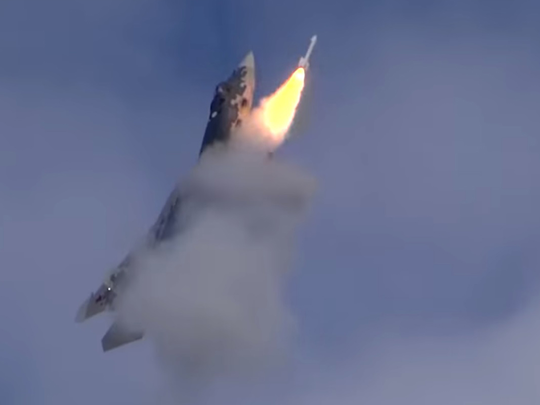 russian aerial warrior su 57 fighter aircraft hit air to air missile surprise world