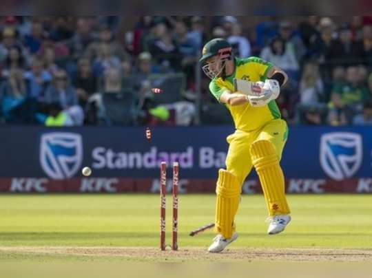 Port Elizabeth: Australias captain Aaron Finch is bowled by South Africas bowl...