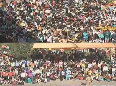 आनंद विहार बस अड्डे पर उमड़ी मजदूरों की भीड़