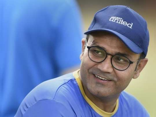 Mumbai: Former Indian batsman Virender Sehwag during a practice session ahead of...
