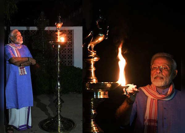 कोरोना के खिलाफ जंग में पीएम मोदी ने खुद भी जलाया दीपक