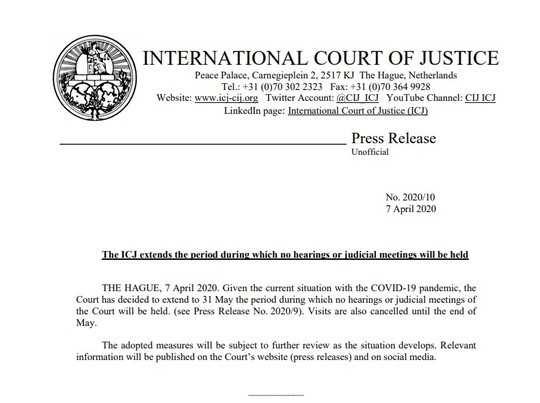 மே 31 வரை முடங்கும் சர்வதேச நீதிமன்றம்... அப்போ இந்தியா?