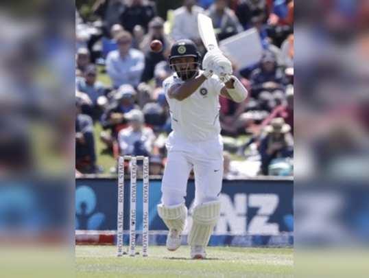 Christchurch: Indias Cheteshwar Pujara watches the ball while battling during p...