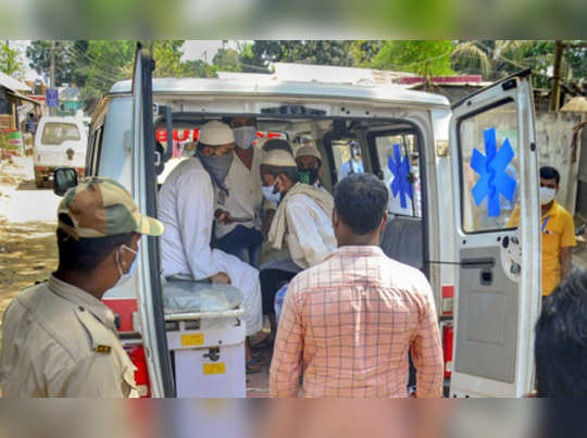 Agartala: An ambulance carries devotees, who had recently attended the religious...