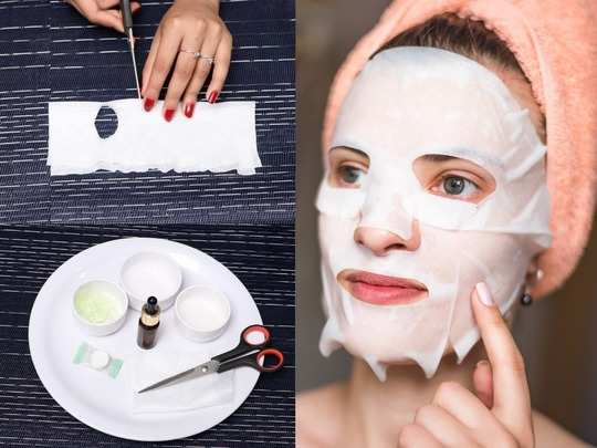 diy sheet mask serum recipes for acne dry glowing and brightening skin step by step method in hindi