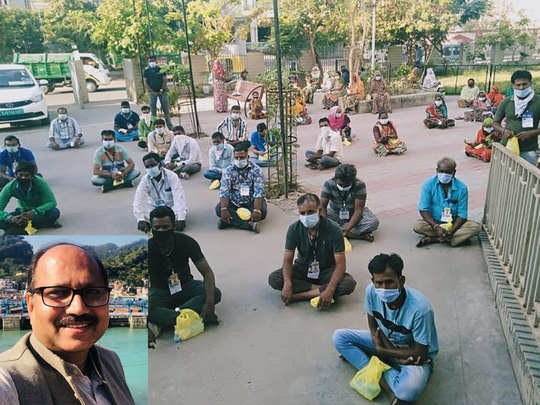 अहमदाबाद में बीएमएस ने बांटा मास्क-सेनेटाइजर, इनसेट में अनुपम