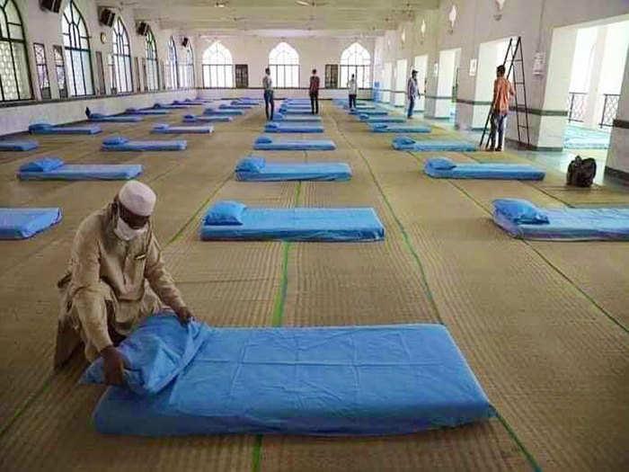 आजम मस्जिद के अंदर बना क्वारंटाइन सेंटर