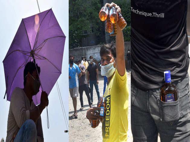 लॉकडाउन: शराब बिक्री का दूसरा दिन, देखें लोगों का 'गजब' जुगाड़