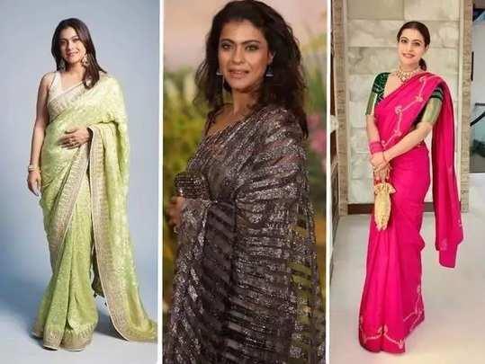 kajol devgan perfect jewellery and stylish saree look in marathi