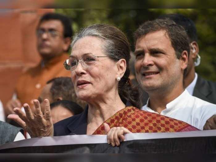 New Delhi: Congress President Sonia Gandhi and party leader Rahul Gandhi during ...