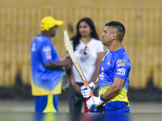 Chennai: CSK Skipper MS Dhoni during a practice session of the upcoming IPL 2020...