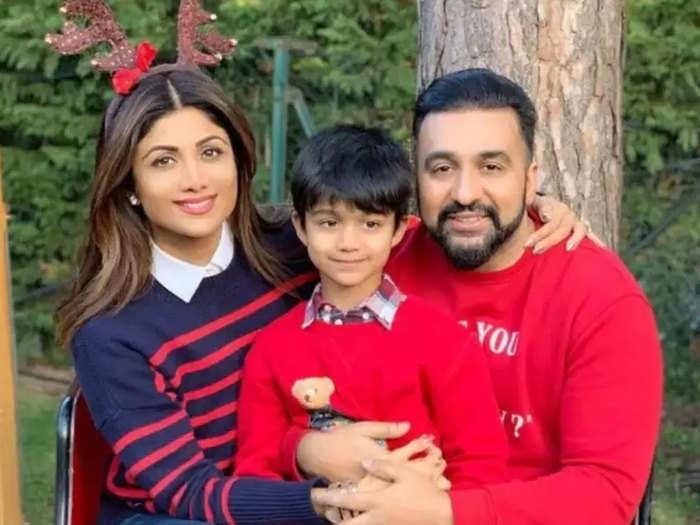 बेटे वियान के साथ शिल्पा शेट्टी और राज कुंद्रा