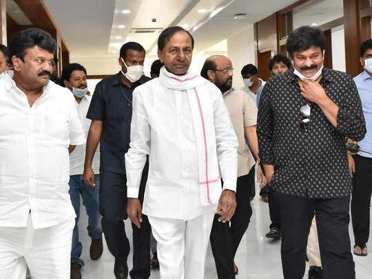 కేసీఆర్, చిరంజీవి (Telugu Film Industry Meeting)