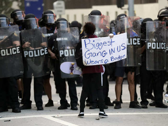police at various places in america supports peaceful protests amid violence over death of george floyd