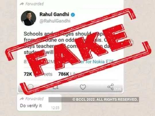 FAKE ALERT: Rahul Gandhi did not tweet odd-even scheme for reopening schools