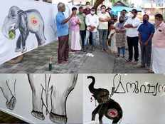 environment day observed as a tribute to the pregnant elephant died at palakkad through drawings