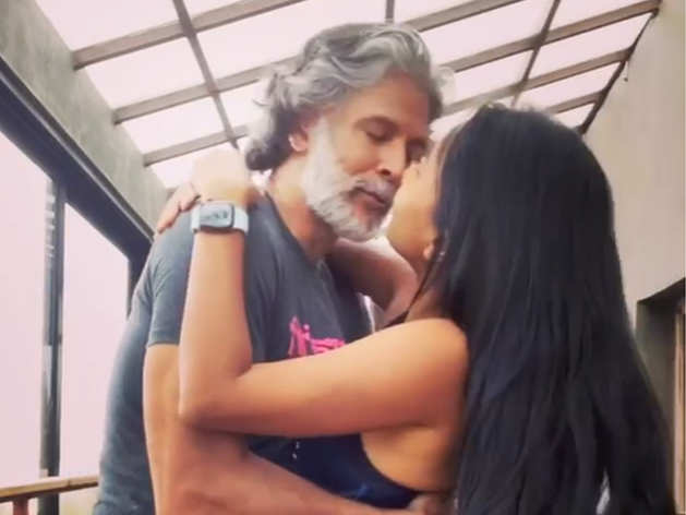 Milind Soman and Ankita Konwar dance