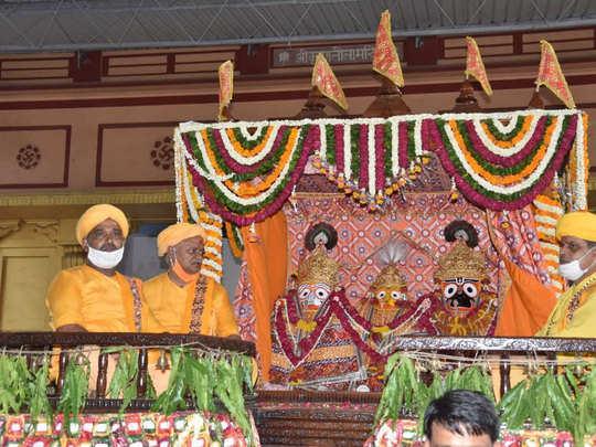jagannath rath yatra in shri krishna janmasthan seva sansthan mathura uttar pradesh