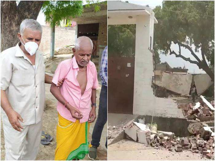vikas dubey kanpur criminal father helplessly watching house getting bulldozed