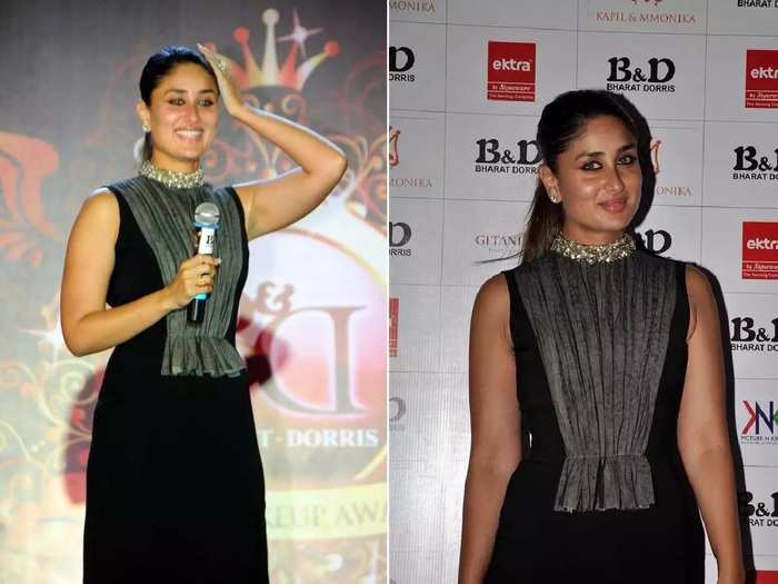 kareena kapoor black and silver backless dress oops moments captured in camera in marathi