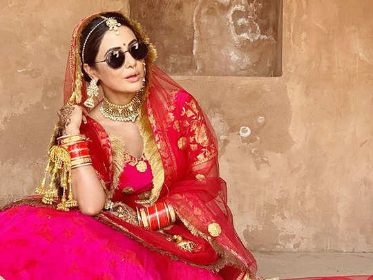 hina khan pictures as bride wearing kala chashmah from raanjhana song viral on internet watch photos