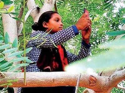 पेड़ पर चढ़ी बच्ची