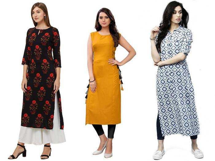 Navlik Womens Crepe Stitched Kurti Combo Pack of 2 (Multi-Coloured)