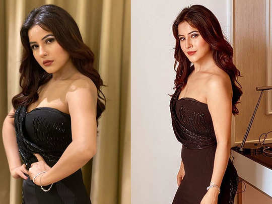 shehnaaz gill shocking transformation in off shoulder black gown fans startled to see her slim avatar