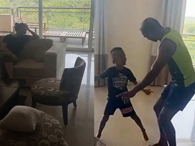 बीवी को डांस के लिए मनाने में बेटे का सपॉर्ट लेते दिखे शिखर धवन, वीडियो किया शेयर
