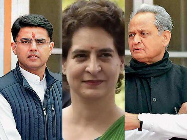 सचिन पायलट, प्रियंक गांधी और अशोक गहलोत।