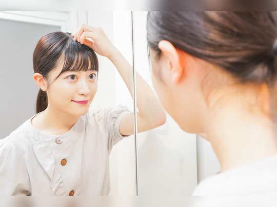 Korean women silky smooth hair care