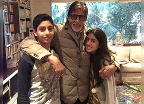 Amitabh with grandson and granddaughter