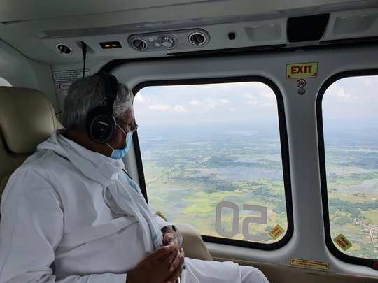 bihar flood update news: cm nitish kumar conducts aerial survey of flood-affected areas