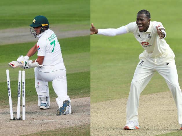 मैनचेस्टर टेस्ट: जोफ्रा आर्चर की गेंद पर यूं बोल्ड हुआ पाक क्रिकेटर, दूर गिरे बेल्स