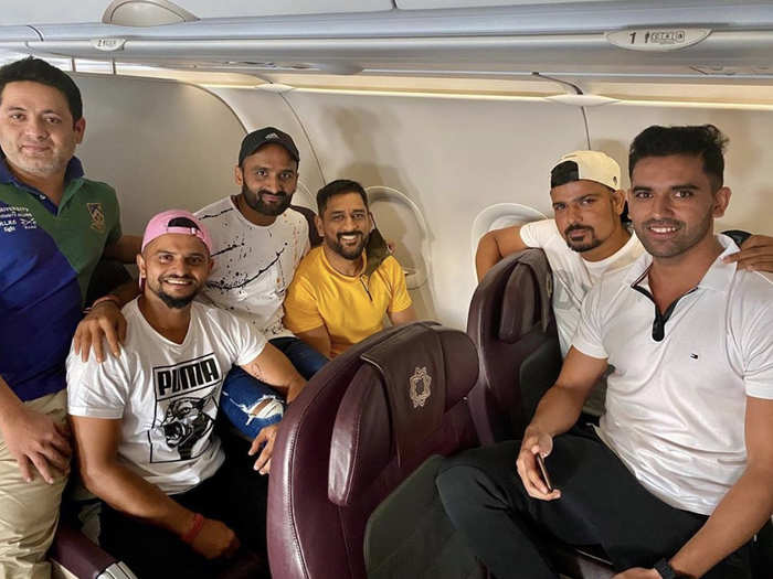 ms dhoni joins suresh raina and others to take off for chennai training camp