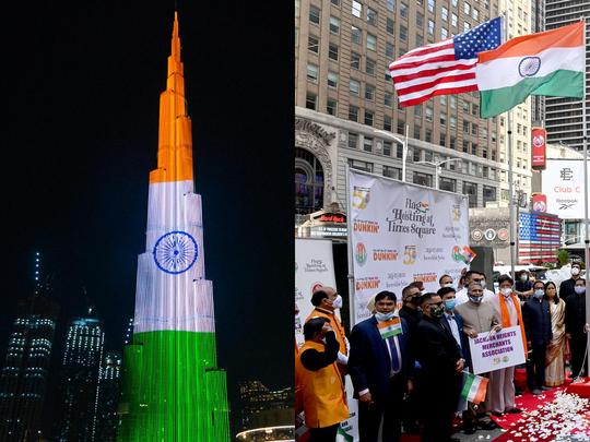 burj khalifa niagara waterfall tri colour a wonderful view of indian independence day in world