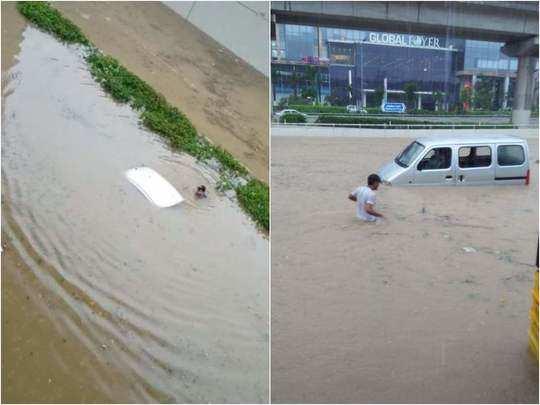 gurgaon rain news photos showing underpass flooded car submerged