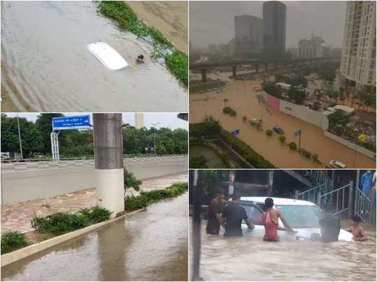 gurgaon rains horrific videos showing flooding in many areas