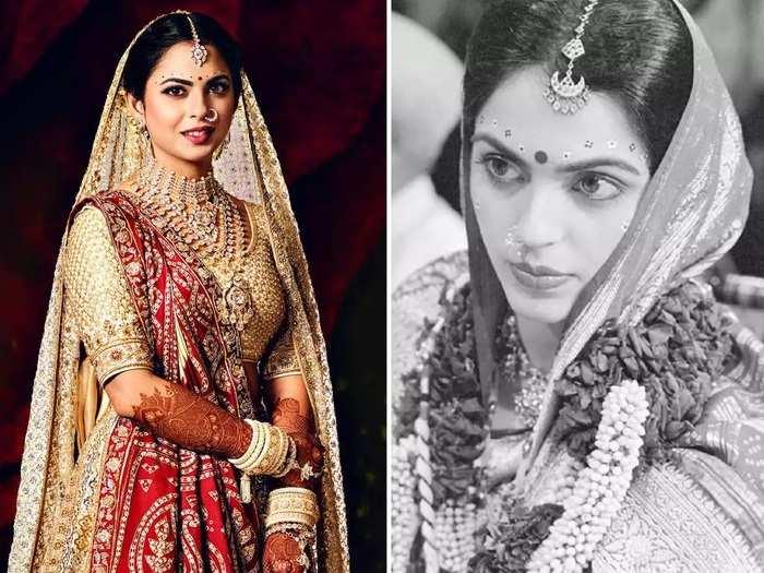 isha ambani copied her mother nita ambani bridal look for her wedding ceremony in marathi
